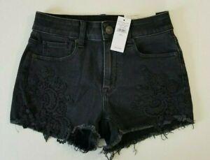 American Eagle Women's Black Hi Rise Shortie Jean Shorts Size 0 New Tags $59.95