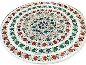 Marble Restaurant Table Top with Peitra Dura Art Dining table top Size 48 Inches