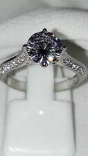 STAINLESS STEEL ENGAGEMENT STIMULATED DIAMOND RING SZ N USA 7