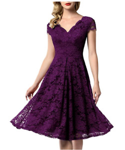 Women Vintage Floral Lace Bridesmaid Dress 1/4 Sleeve Wedding Party Midi Dress