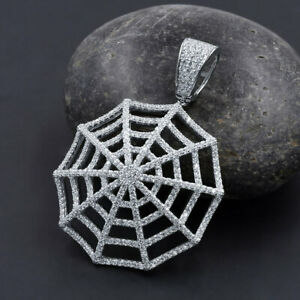 New 14K White Gold On Real Sterling Silver Spider Web Round Charm Custom Pendant