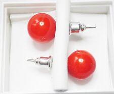 Red orange/tomato Faux Pearl 10mm Stud Earrings - Post & Butterfly Backs