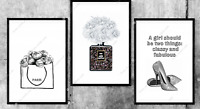 Set of 3 Grey Fashion Wall Art Print A4 Dressing Room Bedroom Poster UK A4,A5,A3