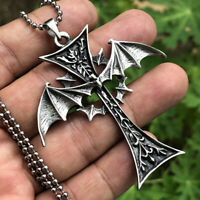 Gothic winged Bat Vampire Cross Occult Pewter Pendant Necklace Silver Ball Chain