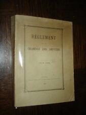 REGLEMENT DE LA CHAMBRE DES DEPUTES - Juin 1928