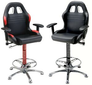 PitStop Crew Chief Bar Chair * Quality Automotive Styling * 2 Colors * PRESALE *