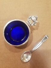 Georg Jensen Acorn Sterling Salt Cellar & Spoon w/Cobalt Blue Enamel Interior