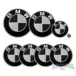 For BMW Badges Satin Carbon Fibre Black & Silver All Models Decals Sticker Fiber
