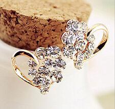 1 Pair Fashion Womens Lady Elegant Clear Crystal Heart Ear Stud Charm Earrings H