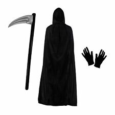 Grim Reaper Halloween Fancy Dress Costume Set (Polyester Cloak, Scythe & Gloves)