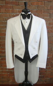 Mens Size 44 S Classic White Notch Tails Tuxedo Jacket Full Dress Tail