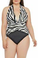 La Blanca Wrap or Plunge Halter One Piece Swimsuit Zebra Print Black White 16W