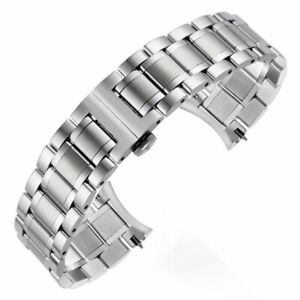 Solid Stainless Steel Watch Band Bracelet Butterfly Clasp+Curved End 16-24MM