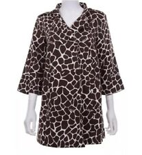 Lilly Pulitzer Size 10 100% Cotton Animal Print 3/4 Sleeve Swing Coat Brown $398