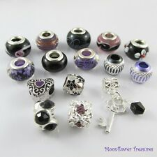 Bulk x15 European Beads and Charms Black & Purple Theme Pack fit Charm Bracelets