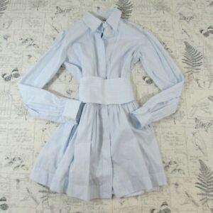 EUC ALEXA CHUNG 100% Cotton Shirt Dress Blue Striped Mini tie UK size 8 US 4