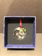 Retired Swarovski Crystal Christmas Ornament Round w/ Holly And Berries - New