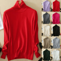 New Winter Women Warm Knitted Turtleneck Cashmere Wool Slim Pullover Jumper