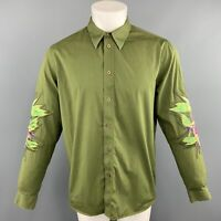 GIVENCHY Size S Olive Applique Cotton Button Up Long Sleeve Shirt