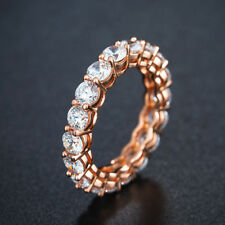 Exquisite Simple Round White Sapphire Ring Rose Gold Bridal Wedding Jewelry Gift