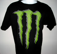 Mens Monster Energy logo T Shirt Large black 100% cotton bold green logo