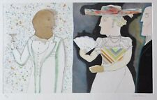"MAX PAPART ""DOUBLE ANDANTE 1981"" HAND SIGNED Aquatint etching/Collage Cubism"