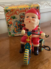 Vintage Tin Windup Toy Santa Claus Cycle~By SUZUKI Japan~In Original Box~Works~