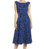 Betsey Johnson Women's Rose Knit Jacquard Dress, Black/Royal Blue