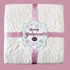 Luxury Bedspread Cream Colour with Rose Pattern 150cmx200cm