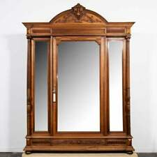 Antique Armoire,  Renaissance Revival Mirrored Door, Ornate, Monumental, 1800s!!