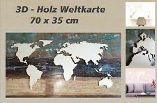 Weltkarte Holz Kontinente + Inseln 700 x 360 mm 3D Effekt Deko Wandbild DIY