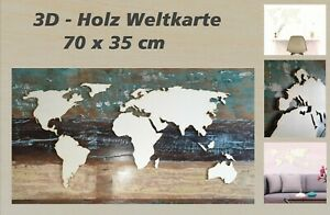 Holz Weltkarte 3D Kontinente u Inseln 70 x 36 cm Deko Wandbild DIY selbstklebend