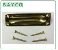 BRASS FLUSH SLIDING DOOR HANDLE 88MM x 25MM. POLISHED SOLID CAST. IN STOCK.