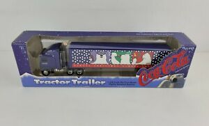 Vintage 1996 1:64 Coca Cola Polar Bear Tractor Trailer Christmas Ertl New Box
