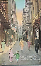 Vintage Old Chinatown, San Francisco California Tinted Postcard, Unused