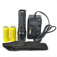 Tactical 5000LM XM-L T6 LED Zoomable Flashlight Torch 2x 26650  Charger Holder