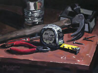 Original Still Life Painting of Tools & Tape Measure - (12x9) by John Wallie