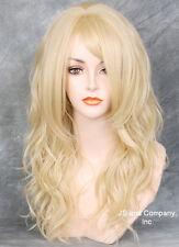 Striking Wavy Long HEAT SAFE WIG w. Bangs Bleached Blonde WBSY 613