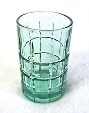 "Anchor Hocking Flat Juice Glass Tartan Green (Light) Art Deco Heavy Base 4-1/8"""
