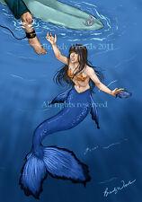 MERMAID Surfer funny fantasy fairy renfest art artwork print SFA Brandy Woods