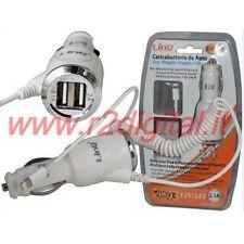 CARICABATTERIE PER IPHONE 5 IPAD MINI USB CARICATORE ACCENDISIGARI AUTO CAMPER