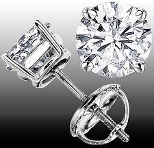 1.01 CT G-H  VS GENUINE ROUND DIAMOND STUD EARRINGS 14K WHITE GOLD 100% NATURAL