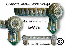 BROWBAND CHANTELLE SHARKTOOTH MOCHA & CREAM GOLD  BY STARLIGHTBROWBANDS