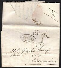 PREFILATELICA LOMBARDO VENETO 1808 da Verona a Bosco Chiesanuova