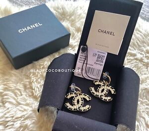 Authentic CHANEL w Receipt | Leather Gold Chain XL CC Logo Drop Earrings F21