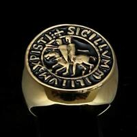 MENS MEDIEVAL BRONZE RING TEMPLAR KNIGHT SEAL COAT OF ARMS BLACK ENAMEL ANY SIZE