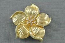 14K Yellow Gold Textured Flower Diamond Brooch Pin Pendant