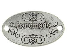 HANDMADE Label Etikett 10 Stück Silber 32x19mm Verbinder Antiksilber Aufnäher