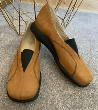 ECCO BROWN LEATHER SLIP ON COMFORT FLAT SHOES UK 6