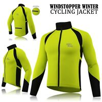 Mens Cycling Winter Windstopper Jacket Thermal Fleece Windproof Coat Fluorescent